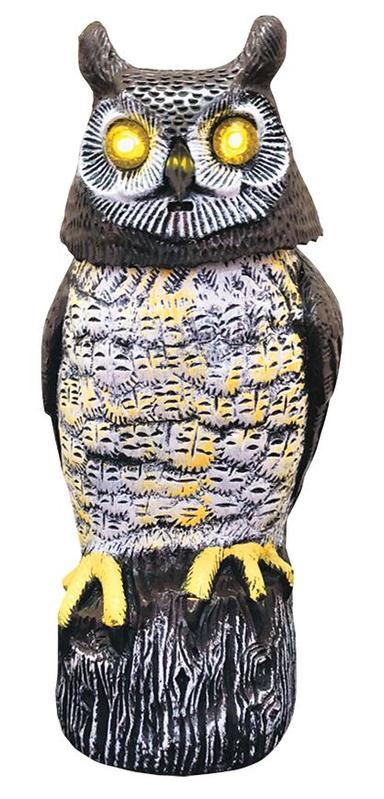 Plasic vtákov Sova, solárna, svietiace oči ,otáčajúca hlava, 43cm